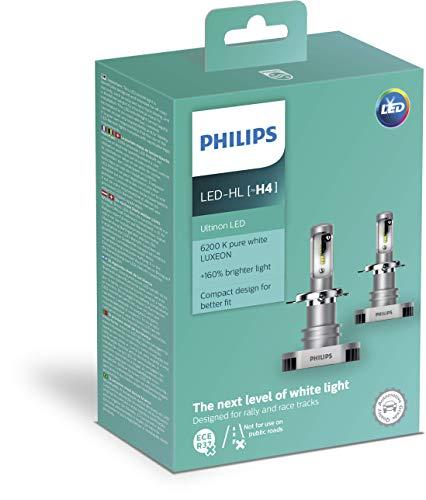 PHILIPS 11342ULWX2 Ultinon LED Lampadina fari Auto (H4), 6.200K, Set di 2
