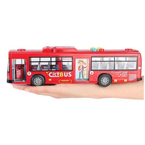 Lihgfw Kinderspielzeug, Jungen, Bus, Polizeiauto, Spielzeugauto-Modell, Babyspielzeug, Schulbus, Legierungsspielzeugauto, Busmodell, Babyspielzeug über 1 Jahr alt 28cm (Color : Rot)