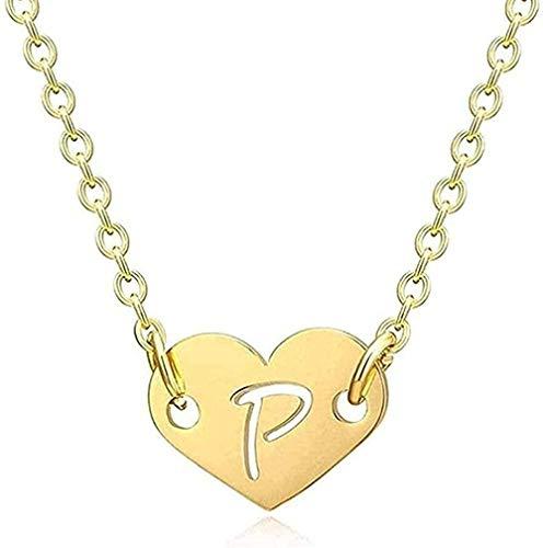 duoyunxiayu Collar Mujer Collar romántico Amor corazón Letra Colgante Collar para niñas Mujeres Inicial Hueco Alfabeto Colgante Collar Regalo para Mujeres