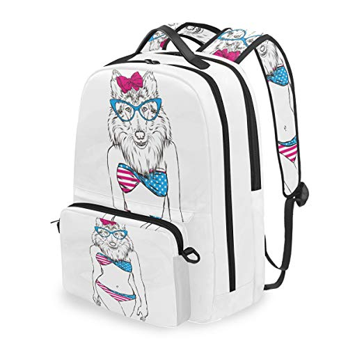 MAHU Backpack Dog Animal American Flag Bikini Detachable College Bag Travel Zipper Bookbag Hiking Shoulder Crossbody Bag Daypack for Women Men