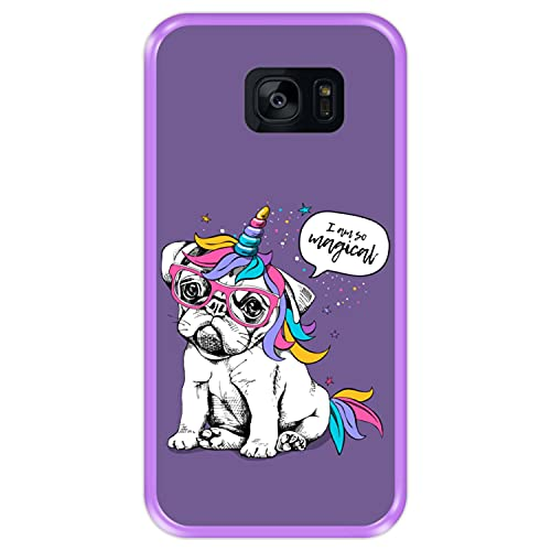 Hapdey Funda Morada para [ Samsung Galaxy S7 Edge ] diseño [ Cachorro, Unicornio ] Carcasa Silicona Flexible TPU