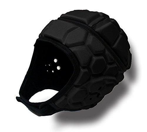 Comax Soft Padded Headgear Helmet: 7 on 7 Tournaments, Flag Football, Training, Rugby, Lacrosse, Epilepsy (Black, LARGE)