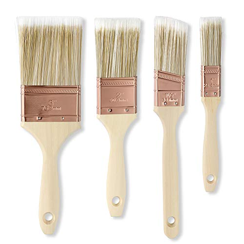 Rescare 4pcs Paint Brushes Set, Reusable Treated Wood Handle, for Acrylic Painting/Stain/Glue,Water and Oil Based Paint, Trim Paint Brushes,Sash Brush, for Wood/Metal/Wall/Deck
