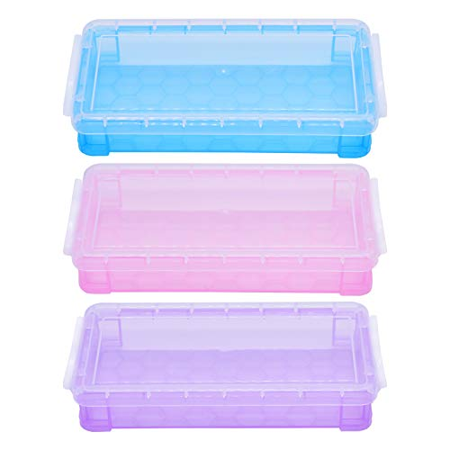 3 Pack Plastic Stacker Pencil Box Case Crayon Holders Pen Containers Large Capacity Pencils Storage Box School Supplies for Kids Girls Boys (3 Colors)