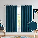 Variegatex - Cortinas opacas de color azul turquesa de 72 pulgadas de largo para recámara, con relieve de lino en relieve, para reducir el ruido de la ventana, cortinas para el salón, 52 x 72, juego...