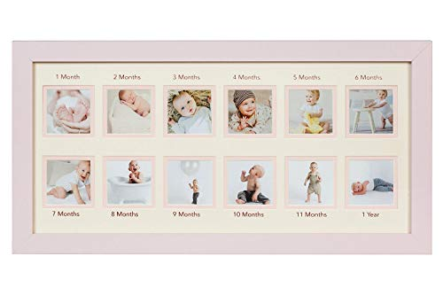WOOD SIDE ORBIS First Year Newborn Baby Collage Keepsake Picture Frame for Photo Memories with Double Beige Mat and Twelve 2x2 Slots - Pink