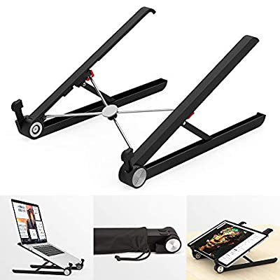 "Klearlook Laptop Stand Holder, Foldable Portable Ventilated Adjustable Laptop Riser with Carry Bag,Lightweight Desktop Ergonomic Space-save Notebook Tray Mount for iM ac/Laptop & 11-17"" Tablet-Black"