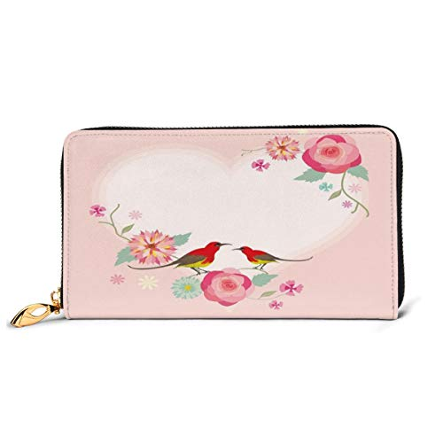 Women's Long Leather Card Holder Purse Zipper Buckle Elegant Clutch Wallet, Love Valentines Day Pale Heart Shapes with Cute Birds and Floral Ornaments,Sleek and Slim Travel Purse