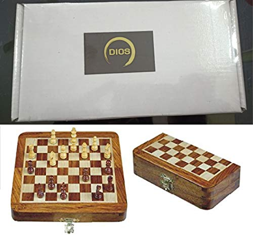 Chess Set – Travel Size Chess Sets Chess Set for Kids Adults Family Outdoor Chess Game Portable Handmade Wooden Travel Chess Set Magnetic Chess Board Folding Tournament Game Board 7 inch Storage