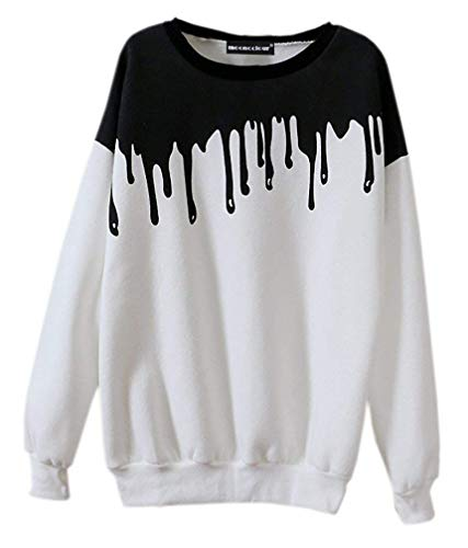Mooncolour Women's New Fashion Splicing Print Long Sleeve Pullover, Onesize, White