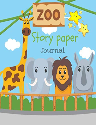 Zoo story paper journal: Dotted Midline and Picture Space | Grades K-2 Composition School Exercise Book | 120 Story Pages