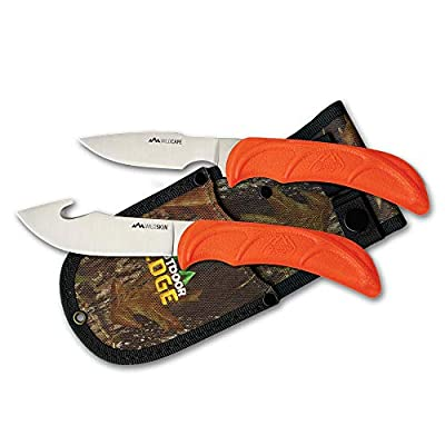 Outdoor Edge WildPair, Fixed Blade 2-Knife Hunting Combo Set with Deep Bellied Gut-Hook Skinner, Caping Knife and Mossy Oak Nylon Sheath