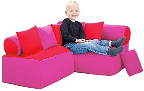 Shopisfy Kinder M l-sitzsack Ecke Sofa mit Kissen Lesen Sätzen, Erh lich in 4 Farbe Kombinationen - Rot Rosa