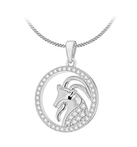 Toscane zilveren vrouwen sterling zilver gerhodineerd CZ Ram Horoscoop ronde hanger op stoeprand ketting - 46cm/18