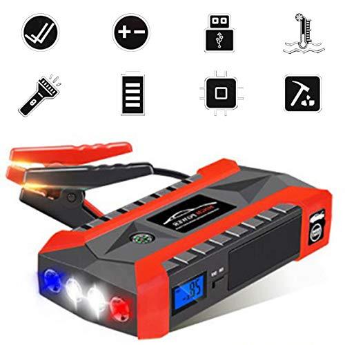 Arrancador de batería de coche de 20000 mAh, refuerzo de herramienta eléctrica de emergencia, cargadores de batería para coches de 12 V, motocicletas, barco, RV con 4 USB, linterna LED, abrazaderas