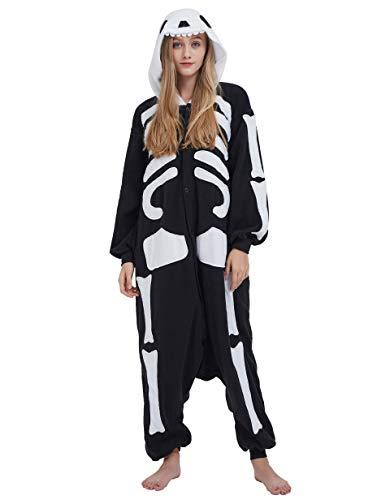 Jumpsuit Onesie Tier Karton Fasching Halloween Kostüm Sleepsuit Cosplay Overall Pyjama Schlafanzug Erwachsene Unisex Lounge, Skelett, Erwachsene Größe L - für Höhe 168-177CM