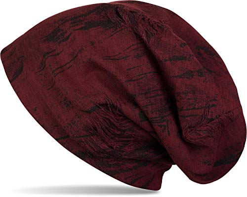 styleBREAKER gemusterte Beanie Mütze im Destroyed Vintage Used Look, Slouch Longbeanie, Unisex 04024068, Farbe:Bordeaux-Rot