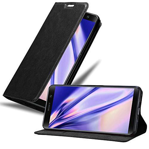 Cadorabo Hülle für Sony Xperia XA2 Plus - Hülle in Nacht SCHWARZ – Handyhülle mit Magnetverschluss, Standfunktion & Kartenfach - Hülle Cover Schutzhülle Etui Tasche Book Klapp Style