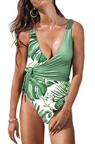 CHYRII Women's High Waisted Tummy Control One Piece Monokini Swimsuit with Belted Green Leaf XXL