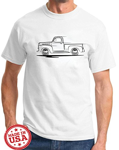 1948-51 Ford F-1 F1 Pickup Truck Redline Classic Outline Design Tshirt 2XL White