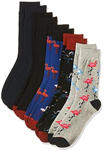 JACK und JONES Herren Jacsummer Flamingo 5 Pack Noos Socken, Light Grey Melange/Detail:Navy blazer - Galaxy blue Navy Black, Einheitsgr e EU