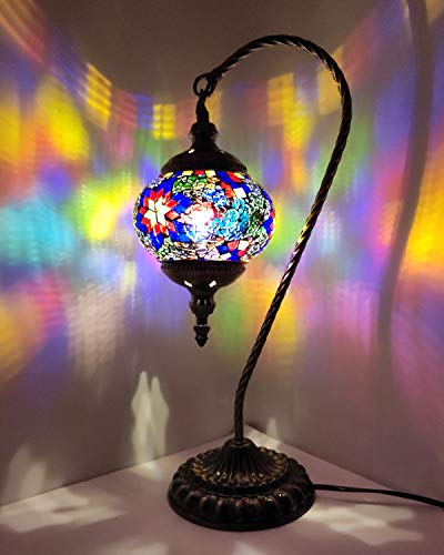 Lámpara de mesa turca con diseño de mosaico hecho a mano, de...
