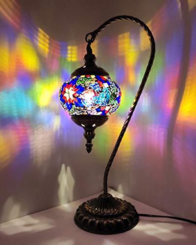 Lámpara de mesa turca con diseño de mosaico hecho a mano, de cristal, para mesita de noche, estilo marroquí Tiffany, luz nocturna para salón, dormitorio, mesa de café (multicolor)