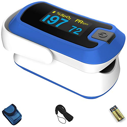 Lowest Price! mibest OLED Finger Pulse Oximeter, O2 Meter, Dual Color White/Blue