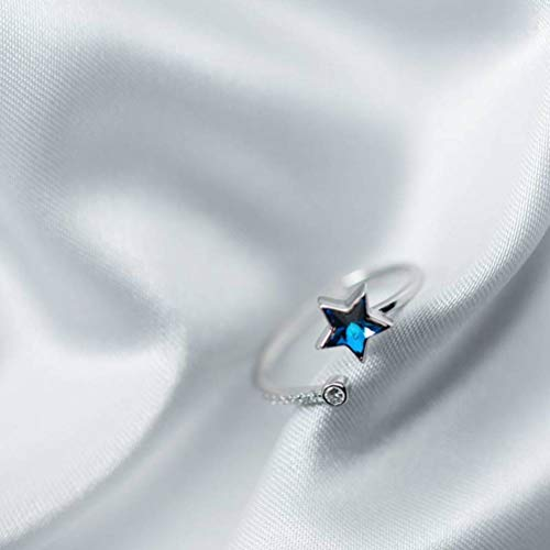 TYERY Anillo de Estrella de Plata S925, Anillo Abierto de Estrella de Cinco Puntas de Diamante Azul Coreano de una Sola Fila de Diamantes, Femeninoanillo de plata s925, Apertura regulable