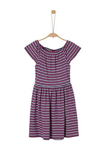 s.Oliver Junior Mädchen 401.12.005.20.200.2019630 Kinderkleid, Dark Blue/red/White Stripes, 158/REG