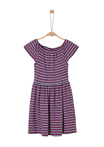 s.Oliver Junior Mädchen 401.12.005.20.200.2019630 Kinderkleid, Dark Blue/red/White Stripes, 158/REG