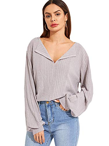 SheIn Women's Casual Lapel V Neck Long Sleeve Loose Pullover Ribbed Tee Shirt Grey Meduim