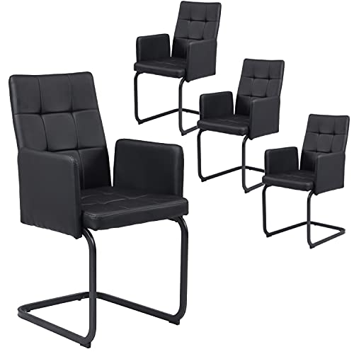 B&D home Esszimmerstuhl 4er Set, Sessel, Polsterstuhl mit Armlehne, Schwingstuhl, Vintage, schwarz, Kunstleder, für esszimmer, bis 110 kg belastbar