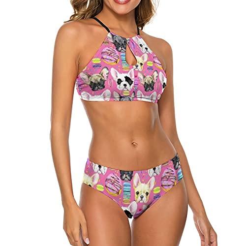 Women Sexy Halter Triangle 2 Piece Bikini Set Swimwear Adjustable Swimsuits, French Bulldog Puppy Watercolor