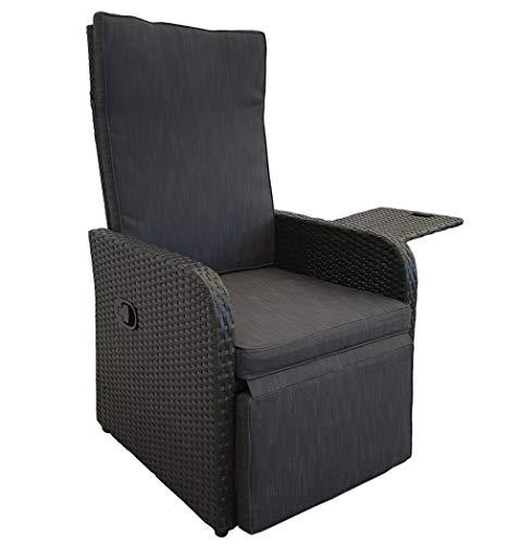 KMH, Polyrattan Liegestuhl Jim inklusive Auflage und ausklappbarem Tisch (schwarzes Polyrattan - anthrazitfarbene Auflage) (#106410)