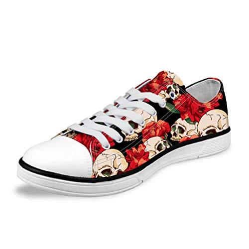 POLERO Unisex Sneaker Low top Turnschuh Textil Schuhe Bequeme Sportschuhe für Damen und Herren mit Totenkopf Muster 36-45 EU