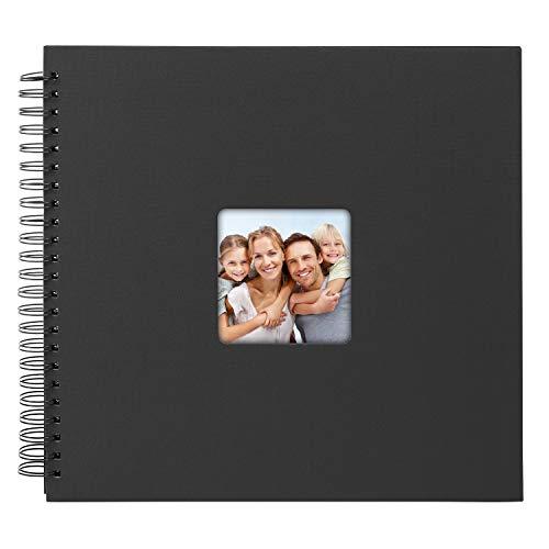 goldbuch 25093 Spiralalbum Living, Erinnerungsalbum mit Bildausschnitt-Cover, Fotoalbum mit 50 schwarzen Seiten, Foto Album zum Einkleben, Fotobuch in Leinenoptik, 32 x 36 cm, Schwarz