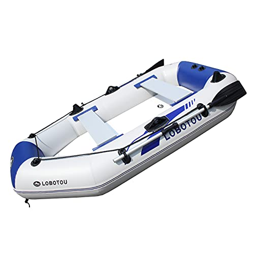 inflatable fishing boats LOBOTOU Inflatable Boat Set 2-3 Person Thickened Fishing Boat Hard Inner Bottom Floor Boat with 3 Separate Air Chambers