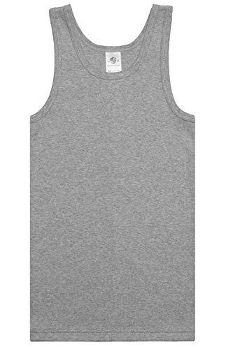 HAASIS BODYWEAR, Jungen Unterhemd 5er Pack, GOTS Zertifiziert, Feinripp, Reine Bio Baumwolle, Made in Europe, Größe:152, Farbe:Graumeliert