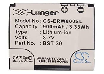 Cameron Sino 900mAh / 3.33Wh Li-ion High-Capacity Replacement Batteries for Sony Ericsson W910i W580i W700i fits Sony Ericsson BST-39