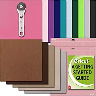 Cricut Maker Leather Sheets, Fabric Felt, Pink GripMat, Rotary Cutter, and Project eGuide