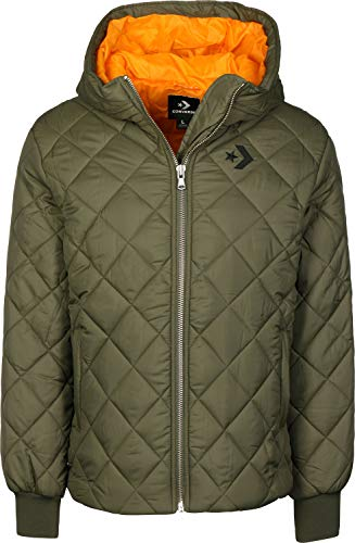 Converse Quilted Poly Puffer MED Olive - Damenjacke, Grün (Medium Olive)