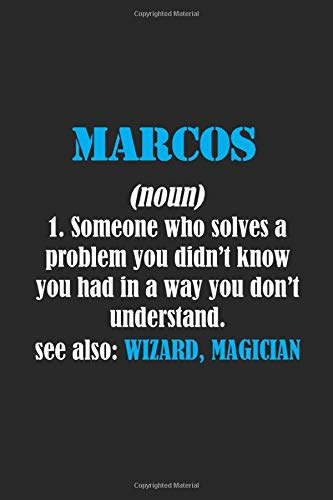 Marcos : Definition Personalized Name Notebook for Marcos | a Gift For Lovers - Girlfriend - Boyfriend - Friends | Journal Gift | 6 x 9  inches Lined Notebook | 122 lined matte pages