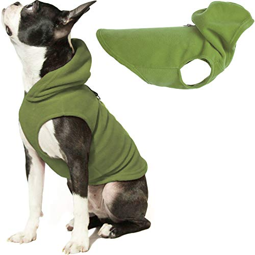 Gooby Dog Hoodie Fleece Vest - Green, Large - Pull Over Dog Jacket with Leash Ring - Winter Small Dog Sweater - Warm Dog Clothes for Small Dogs Girl or Boy Dog Vest for Indoor and Outdoor Use