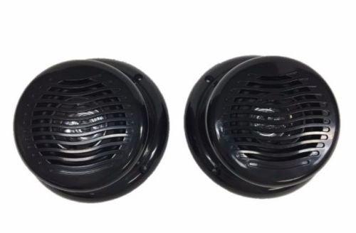 "1 Pair RV Marine Gloss Black Wavy 5.25"" Flush Mount Speaker UV Protected & Waterproof"