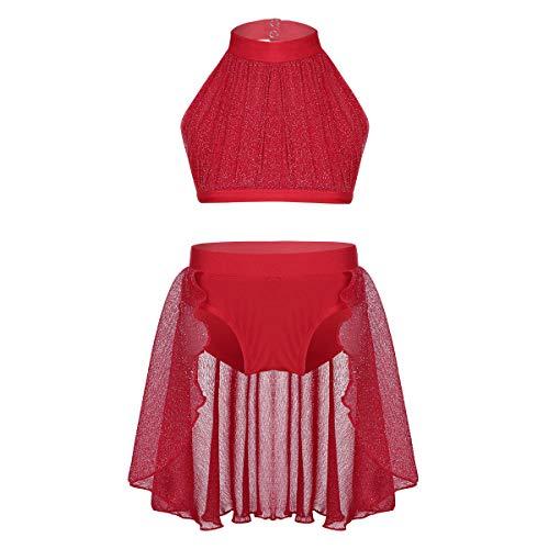 ranrann Maillot de Ballet Patinaje para Niña Conjunto de Danza Lírica Crop Top Shorts con Falda Traje de Baile Moderno Vestido de Bailarina Dancewear Rojo 5-6Años