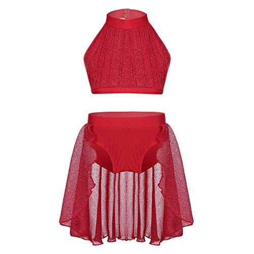 inlzdz Little Big Girls Lyrical Dance 2pcs Outfit High Turtleneck Crop Top with Skirted Bottoms Athletic Costume Red 10-12