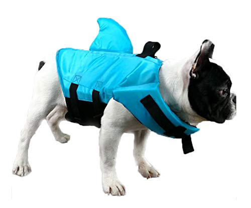 GabeFish Shark Life Jackets for Dogs, Blue, Orange, Swimwear for Cats Blue X-Small