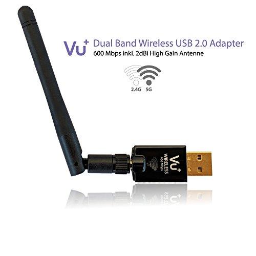 Vu++ Dual Band Wireless USB 2.0 Adapter 600 Mbps con antenna