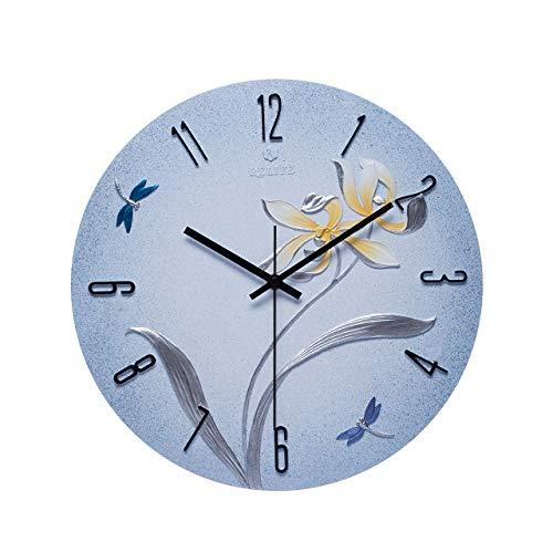 JCOCO Résine européenne horloge murale personnalité créative silencieux non-ticking horloge ronde nombre facile à lire horloge à quartz, utilisé pour salon chambre bureau mur (Couleur : K)